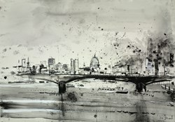 St Pauls and Waterloo Bridge by Tim Steward - Original Drawing, Paper on Board sized 39x28 inches. Available from Whitewall Galleries
